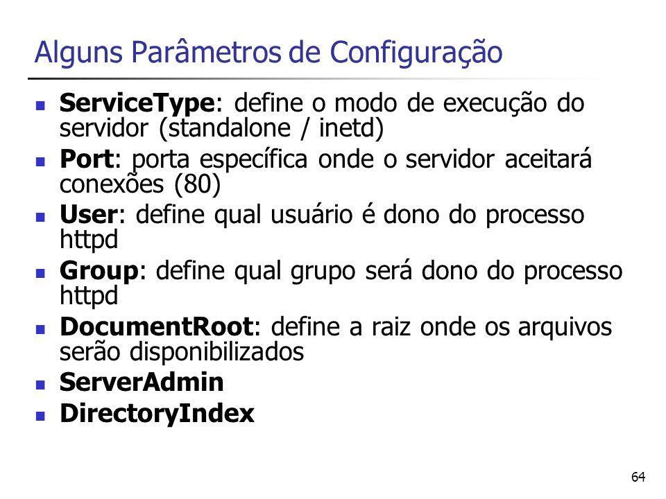 Alguns Parâmetros de Configuração
