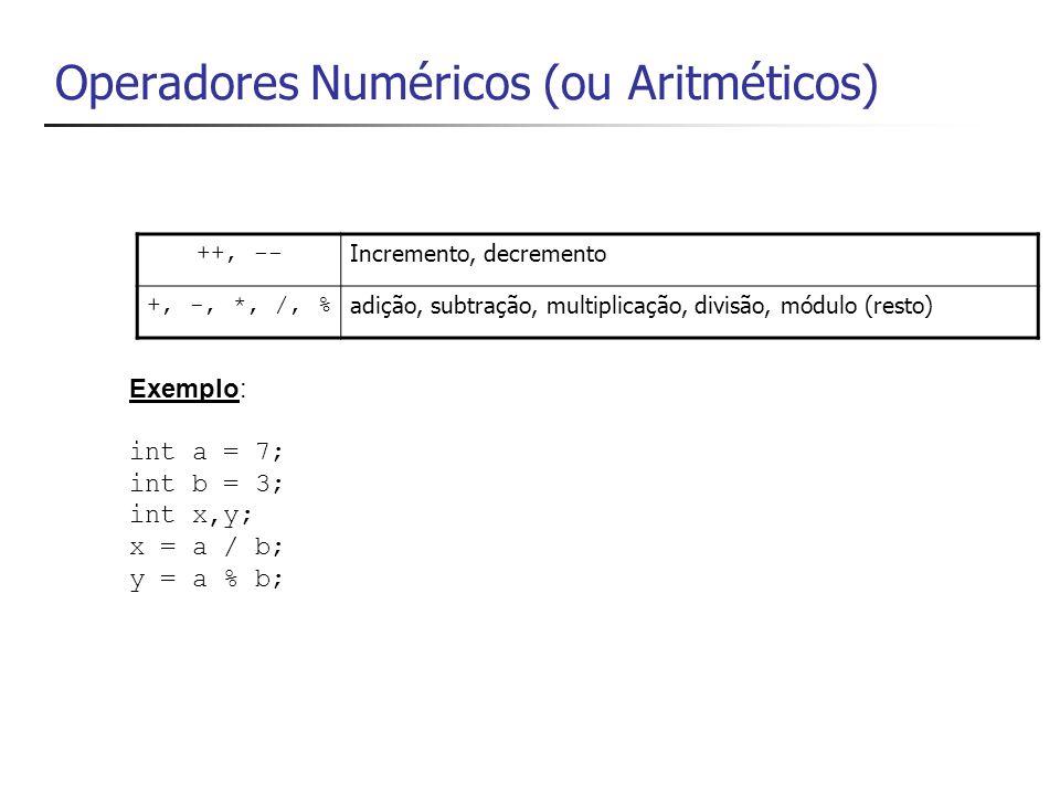 Operadores Numéricos (ou Aritméticos)