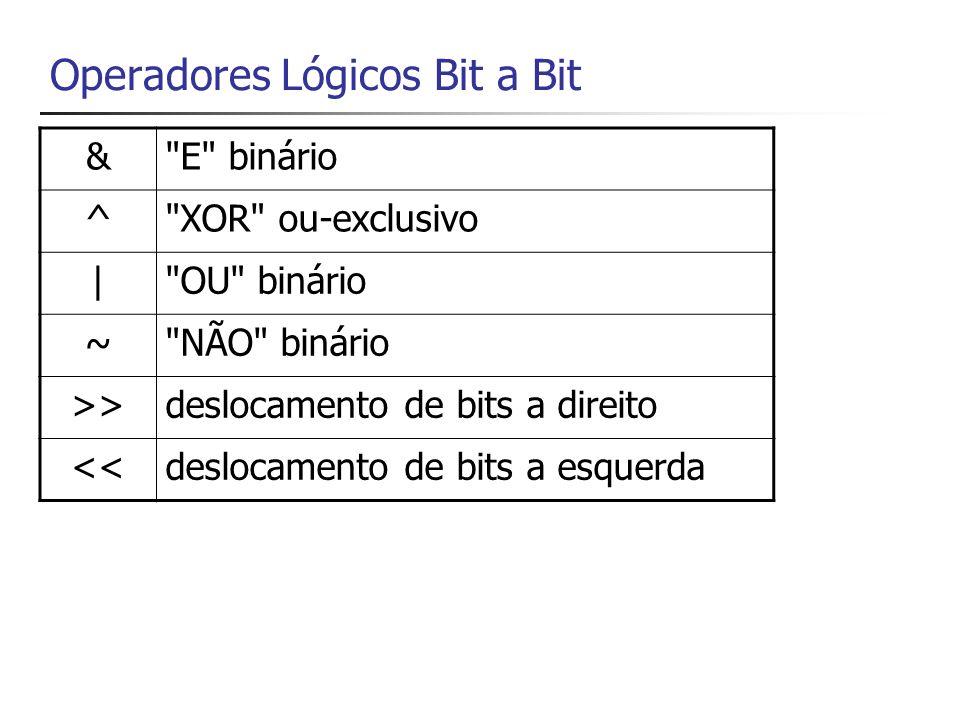 Operadores Lógicos Bit a Bit