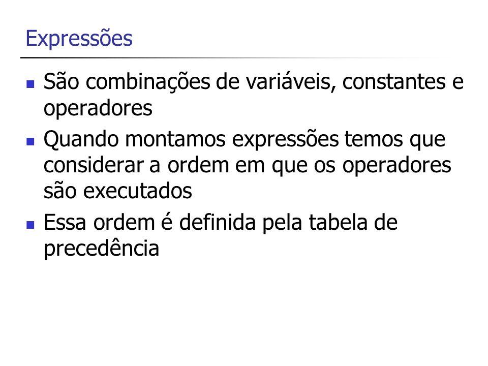 ExpressõesSão combinações de variáveis, constantes e operadores.