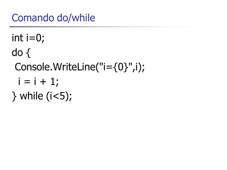 Console.WriteLine( i={0} ,i); i = i + 1; } while (i<5);