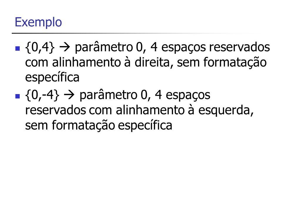 Exemplo{0,4}  parâmetro 0, 4 espaços reservados com alinhamento à direita, sem formatação específica.