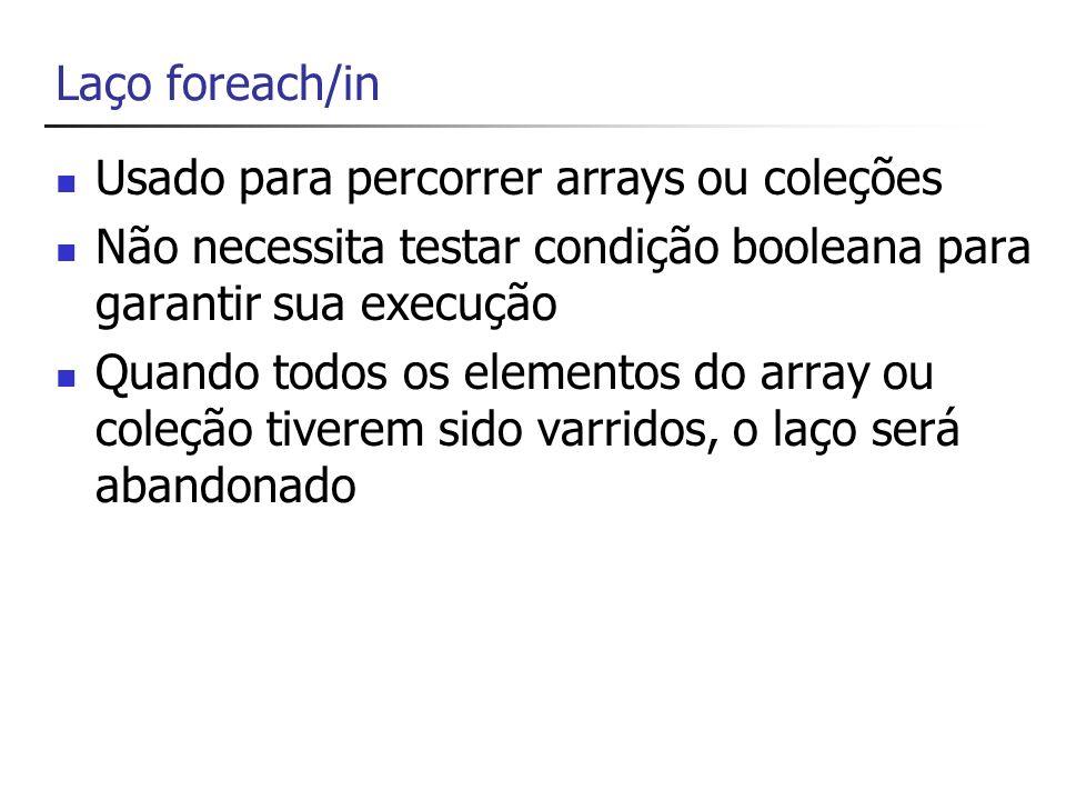 Laço foreach/in Usado para percorrer arrays ou coleções. Não necessita testar condição booleana para garantir sua execução.