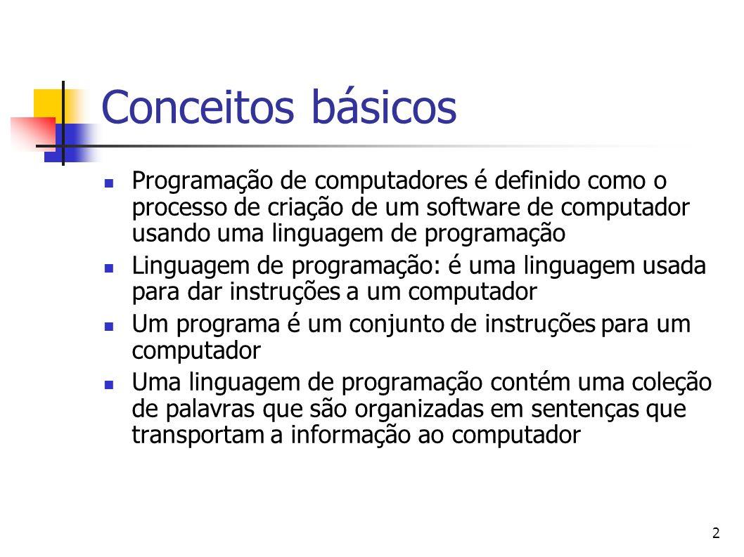 Conceitos básicos Programação de computadores é definido como o processo de criação de um software de computador usando uma linguagem de programação.