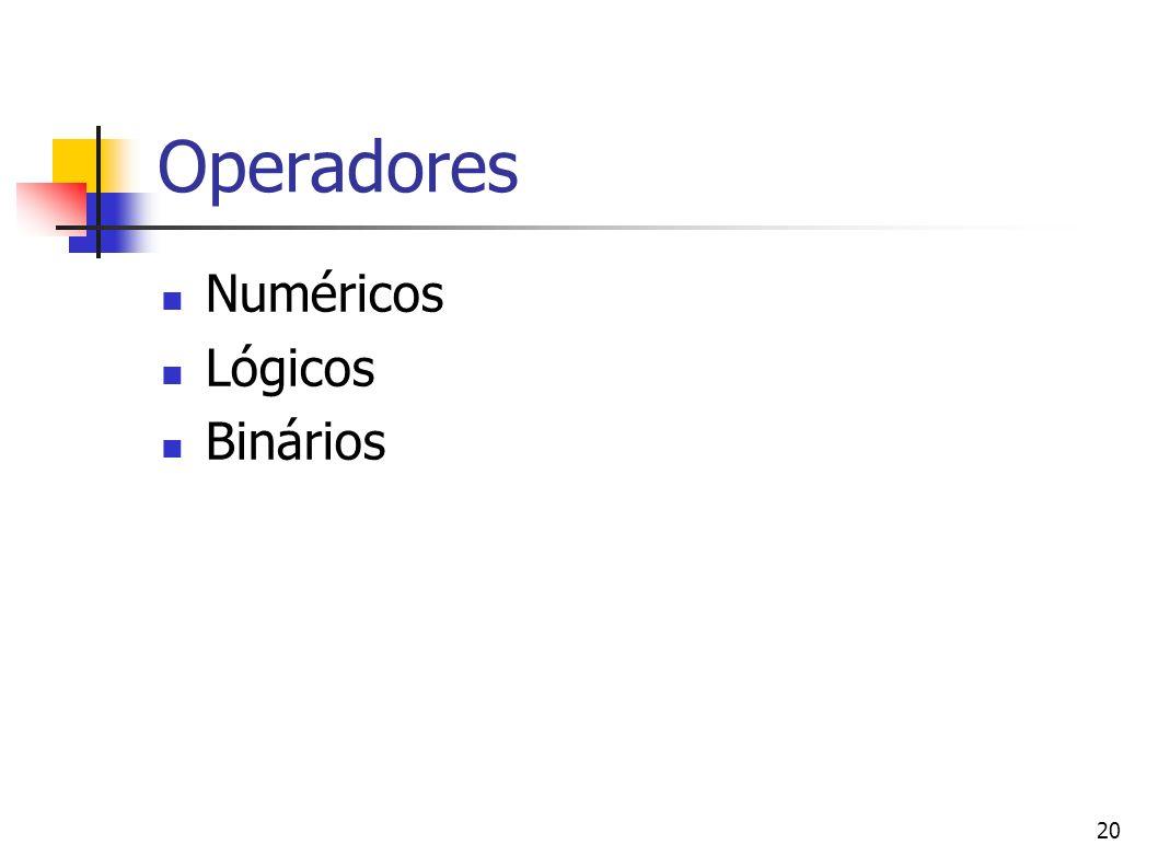 Operadores Numéricos Lógicos Binários