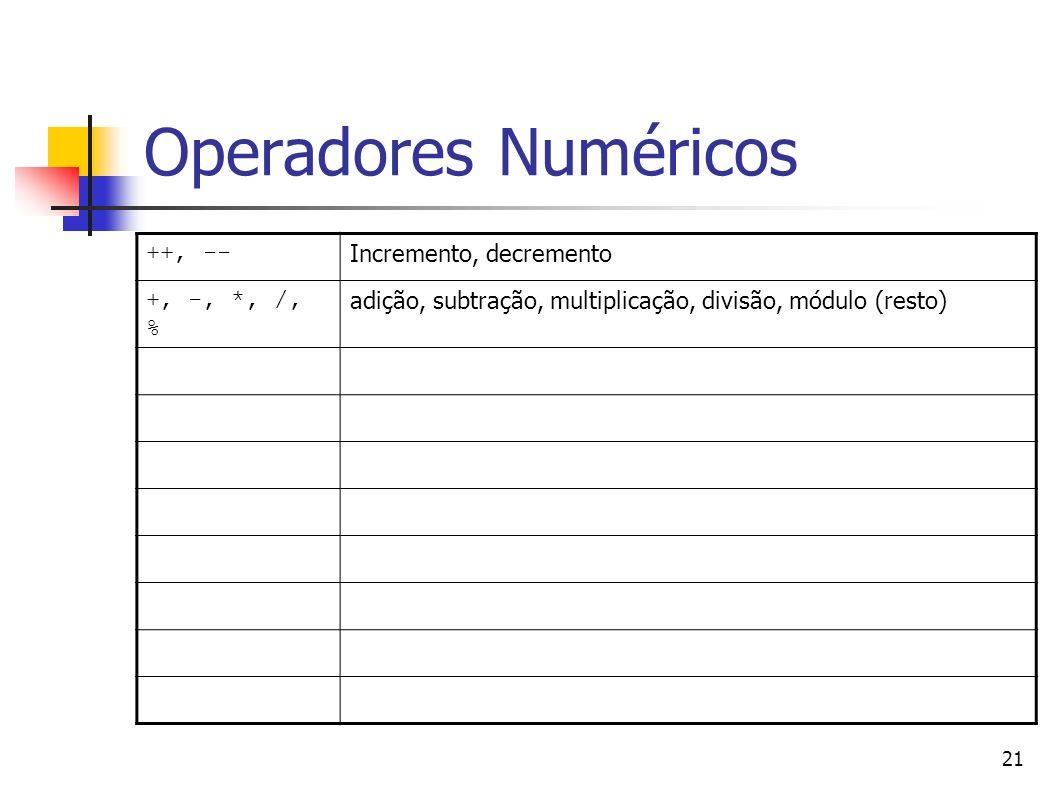 Operadores Numéricos ++, -- Incremento, decremento +, -, *, /, %