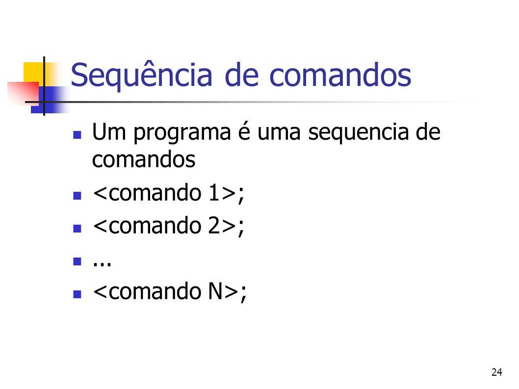 Sequência de comandos Um programa é uma sequencia de comandos