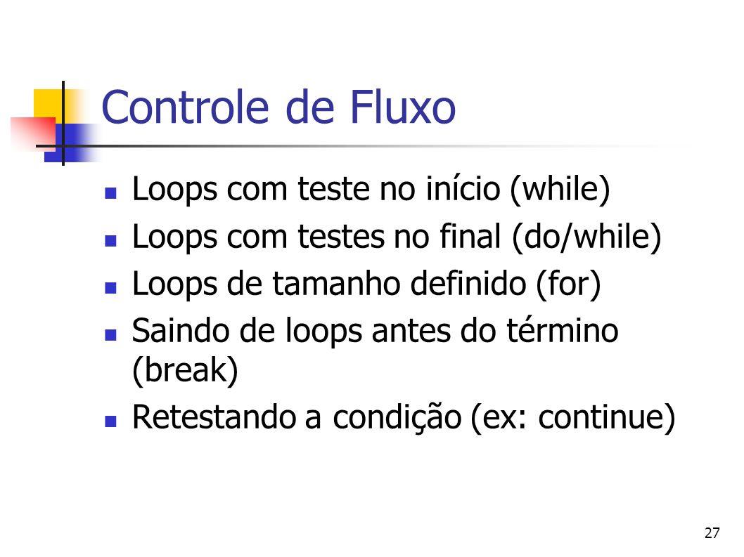 Controle de Fluxo Loops com teste no início (while)