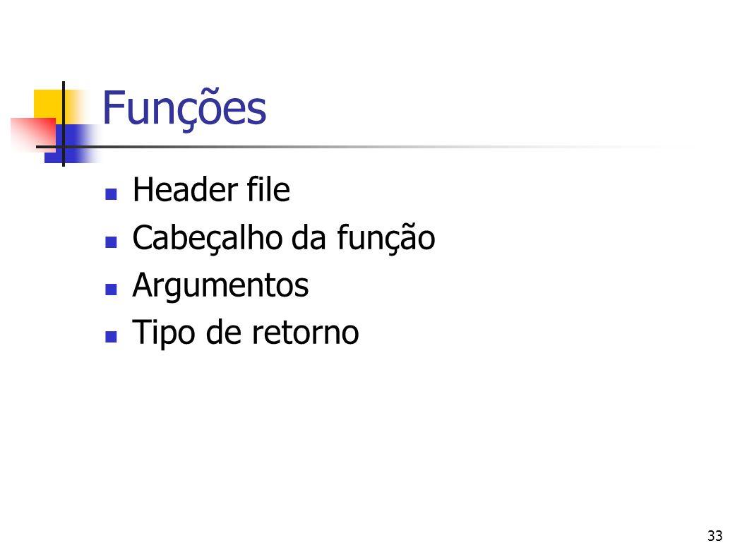 Funções Header file Cabeçalho da função Argumentos Tipo de retorno