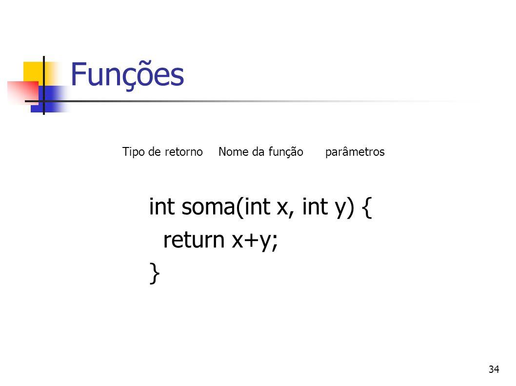 Funções int soma(int x, int y) { return x+y; } Tipo de retorno