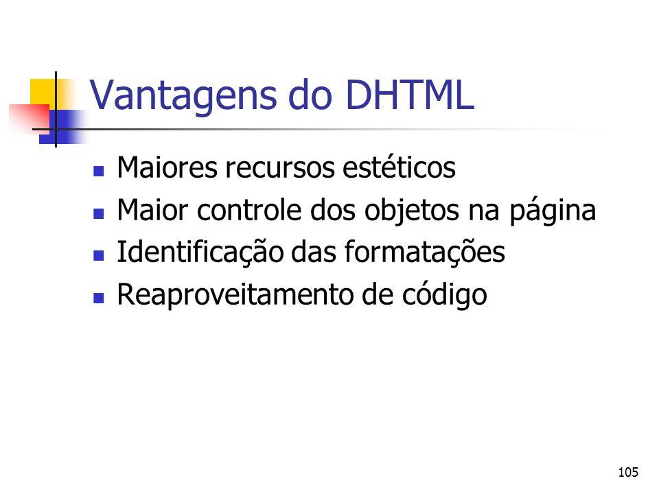 Vantagens do DHTML Maiores recursos estéticos