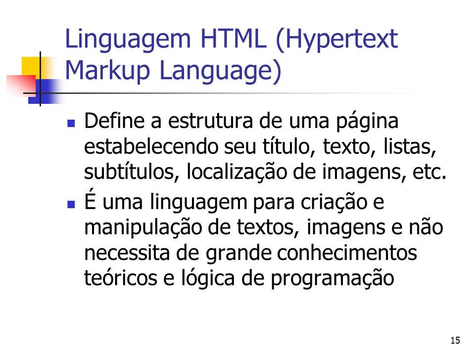 Linguagem HTML (Hypertext Markup Language)