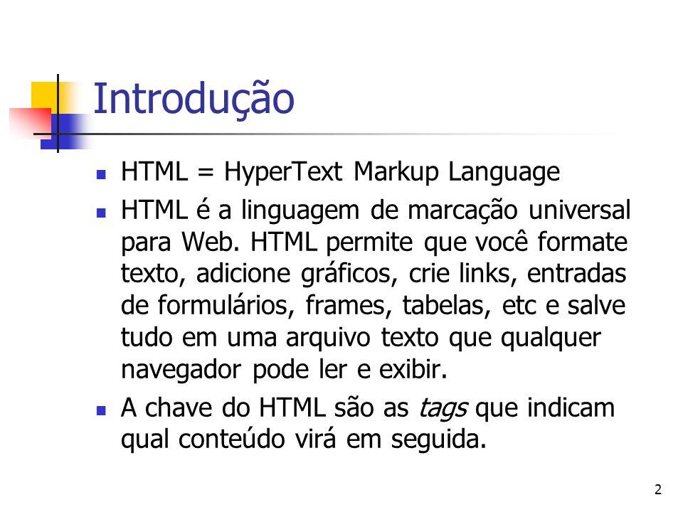 Introdução HTML = HyperText Markup Language