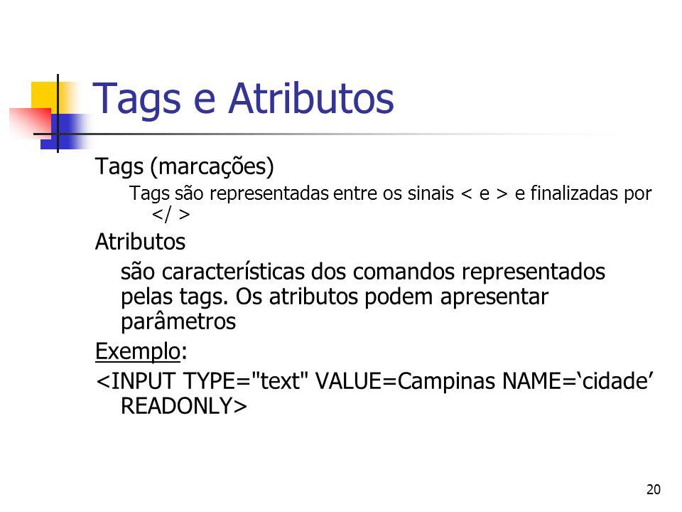 Tags e Atributos Tags (marcações) Atributos