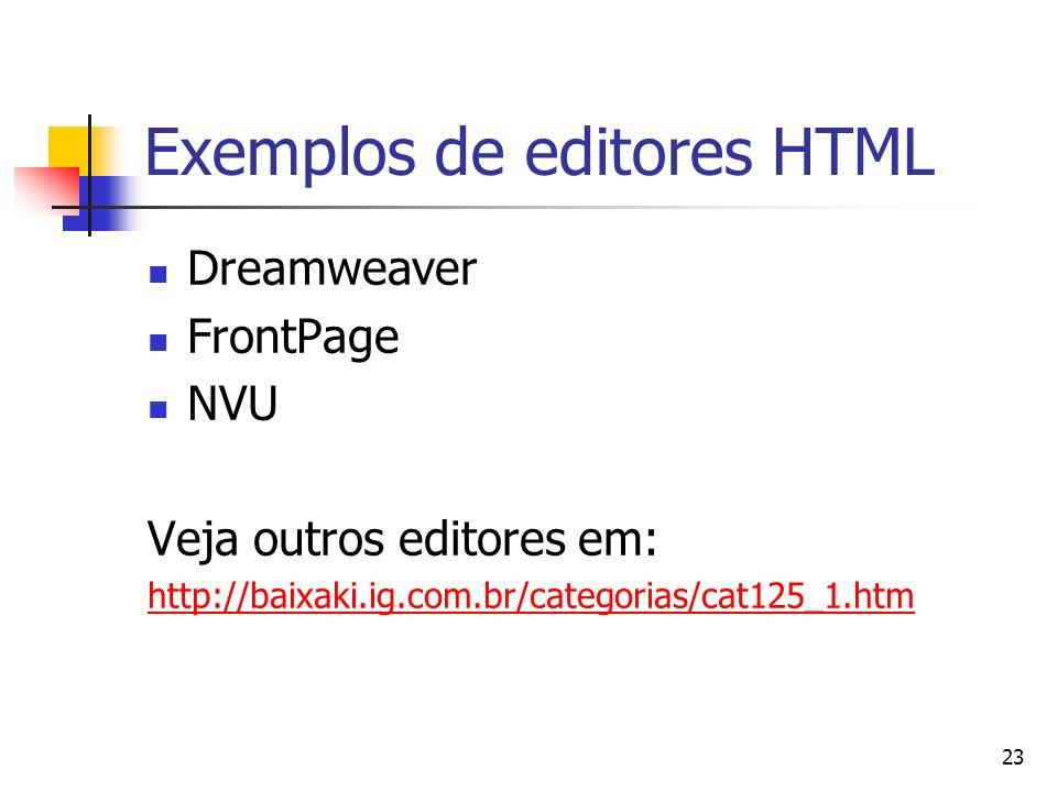 Exemplos de editores HTML