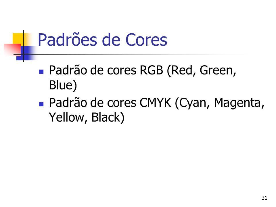 Padrões de Cores Padrão de cores RGB (Red, Green, Blue)
