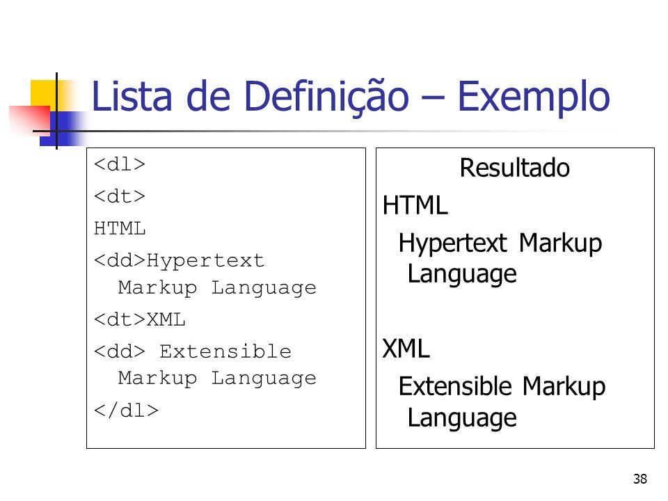 Lista de Definição – Exemplo