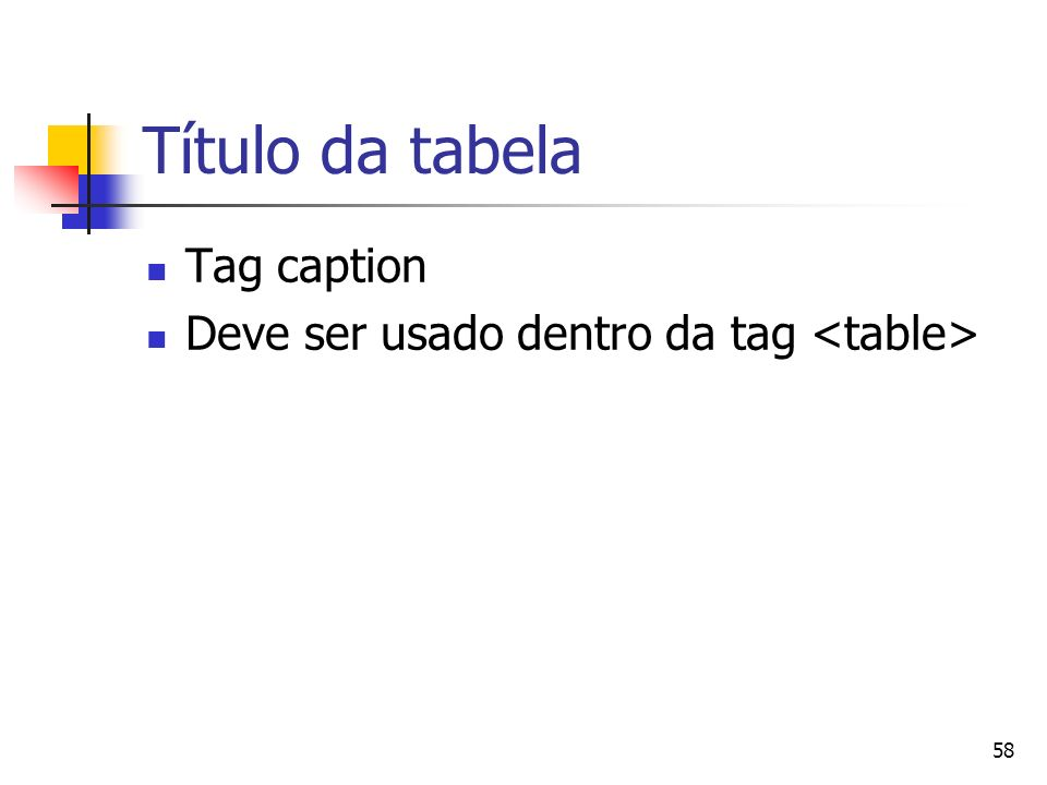 Título da tabela Tag caption