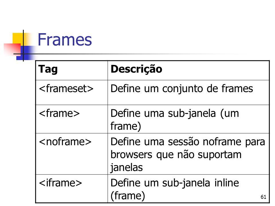 Frames Tag Descrição <frameset> Define um conjunto de frames