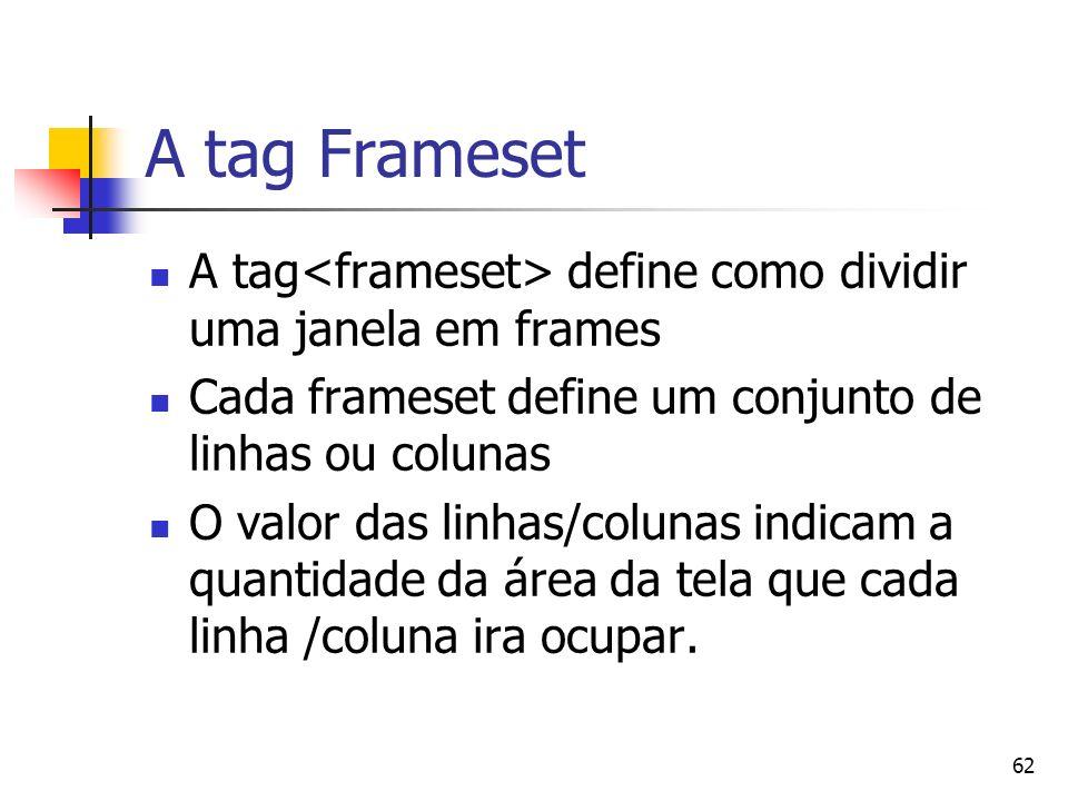 A tag Frameset A tag<frameset> define como dividir uma janela em frames. Cada frameset define um conjunto de linhas ou colunas.