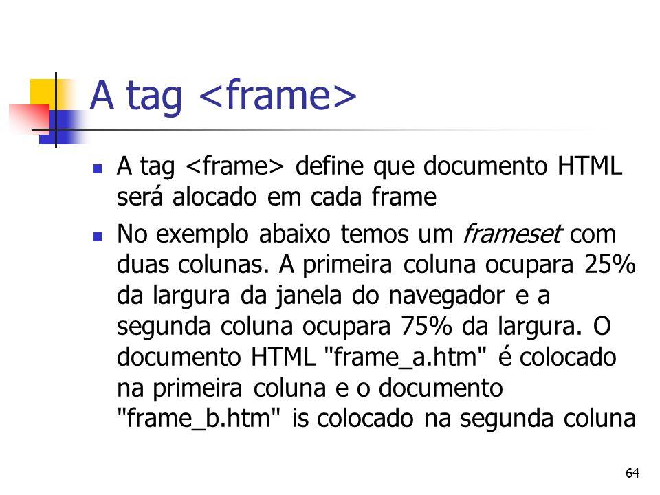 A tag <frame> A tag <frame> define que documento HTML será alocado em cada frame.