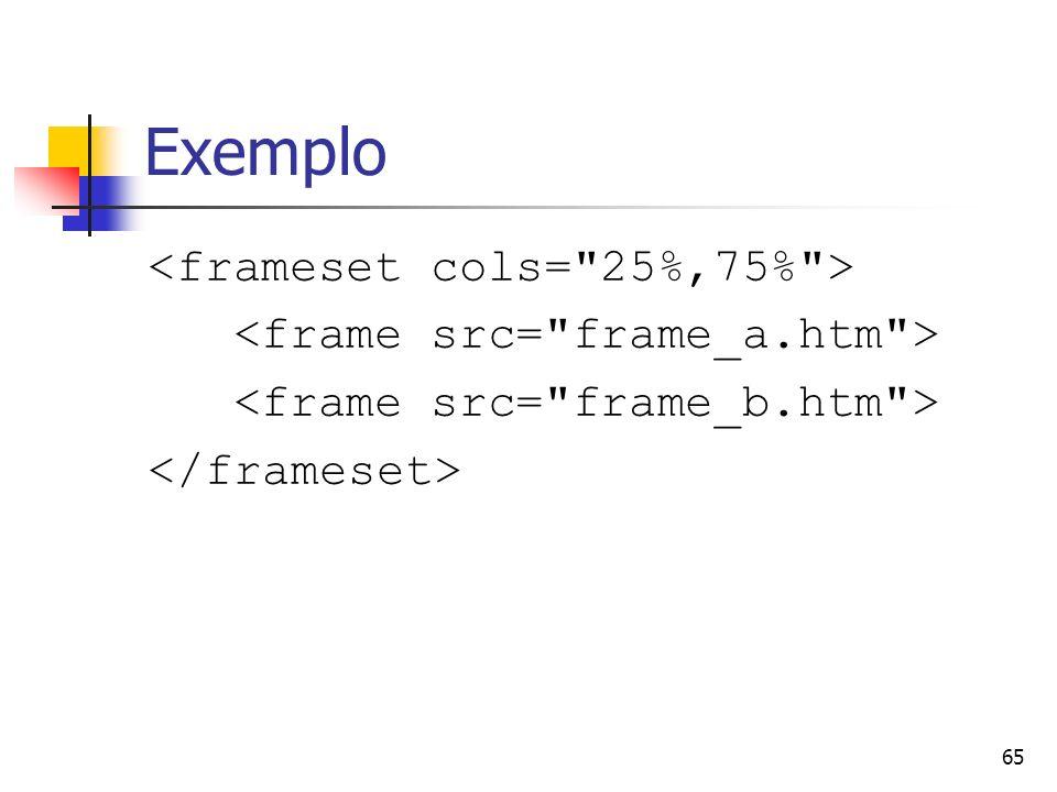 Exemplo <frameset cols= 25%,75% >