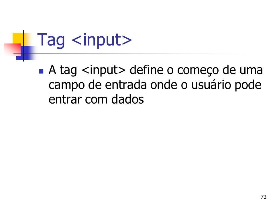 Tag <input> A tag <input> define o começo de uma campo de entrada onde o usuário pode entrar com dados.