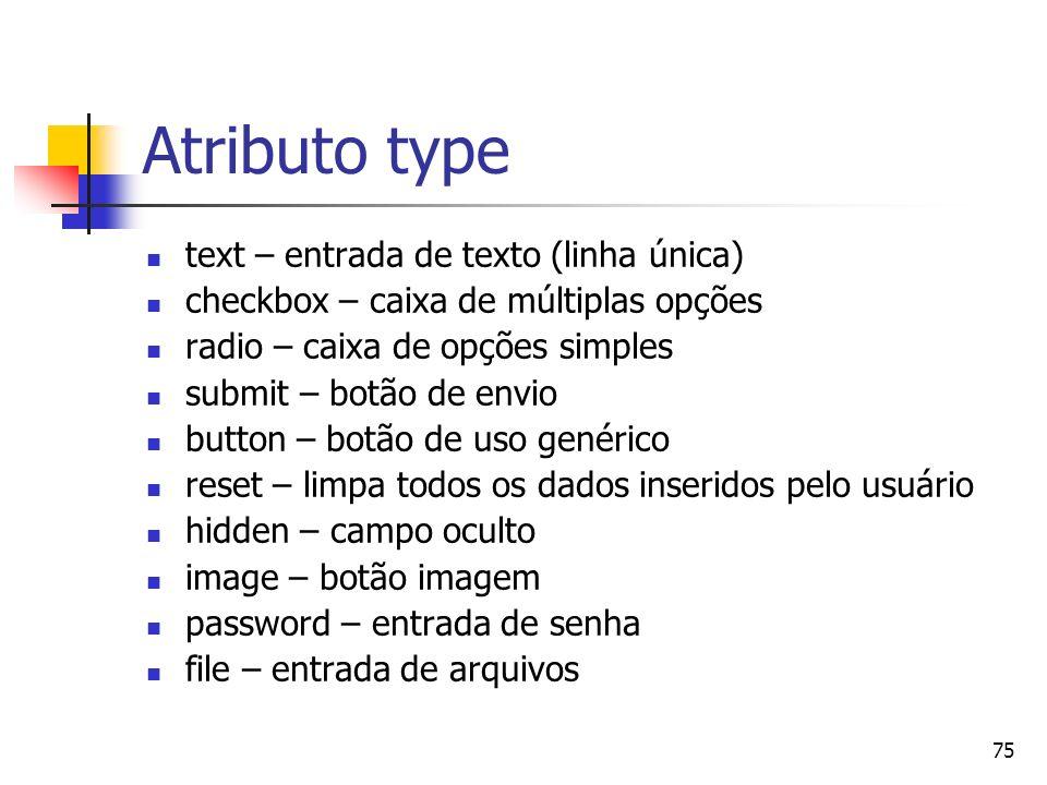 Atributo type text – entrada de texto (linha única)