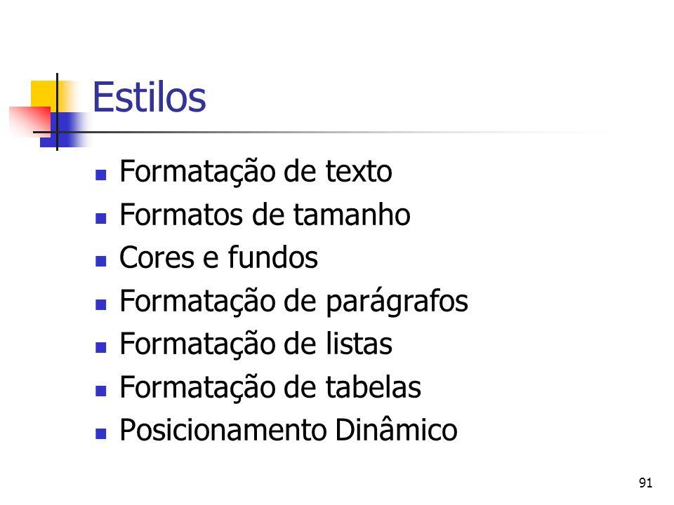 Estilos Formatação de texto Formatos de tamanho Cores e fundos