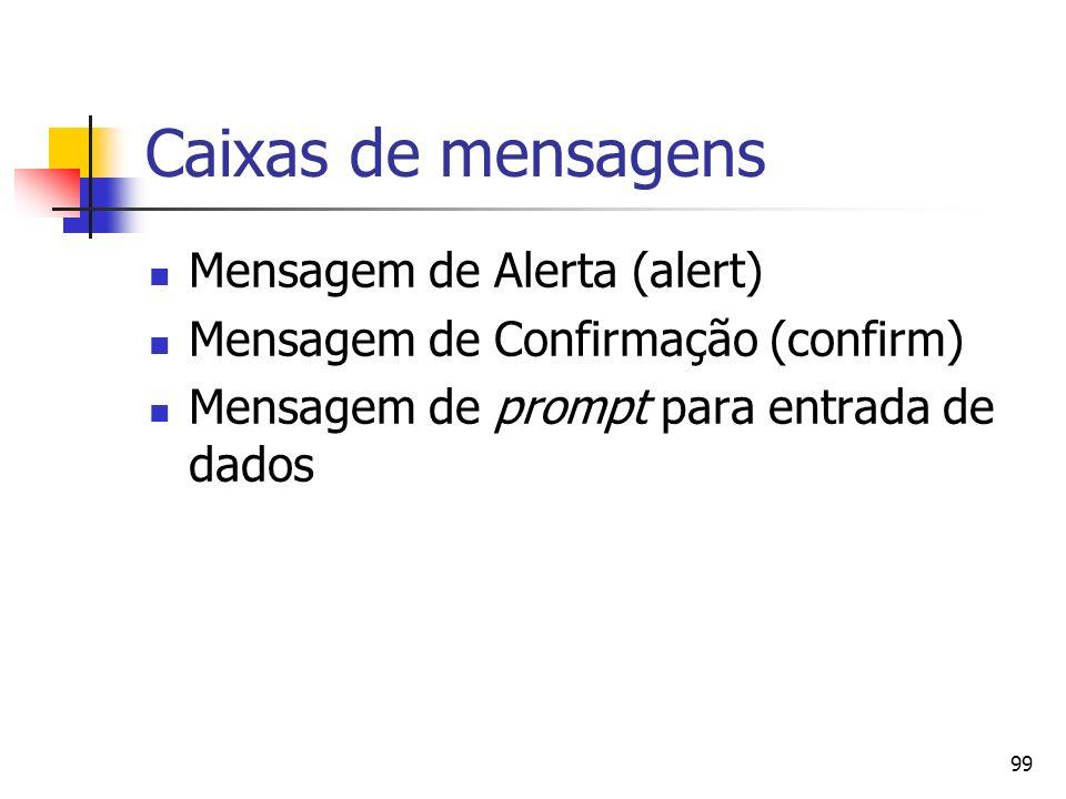 Caixas de mensagens Mensagem de Alerta (alert)