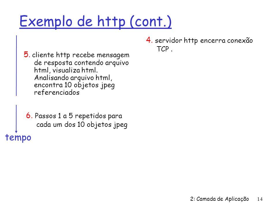Exemplo de http (cont.) tempo 4. servidor http encerra conexão TCP .