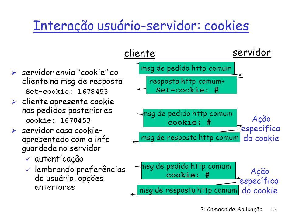 Interação usuário-servidor: cookies