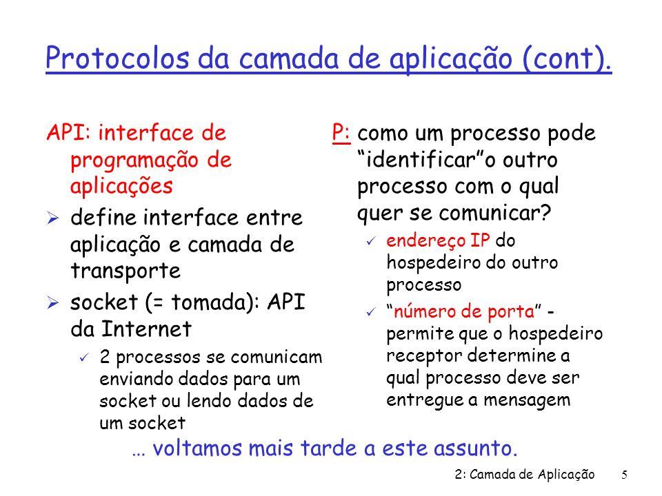 Protocolos da camada de aplicação (cont).