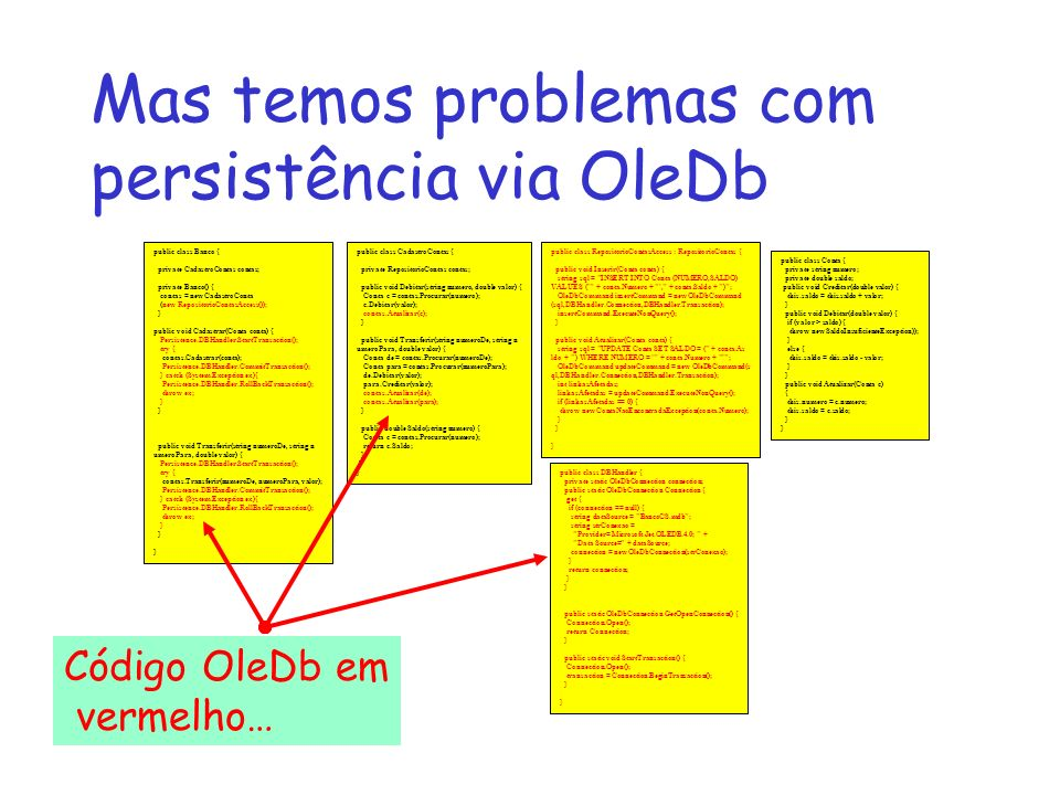 Mas temos problemas com persistência via OleDb