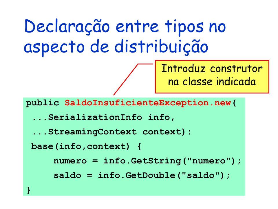 Declaração entre tipos no aspecto de distribuição