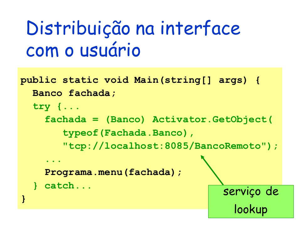 Distribuição na interface com o usuário