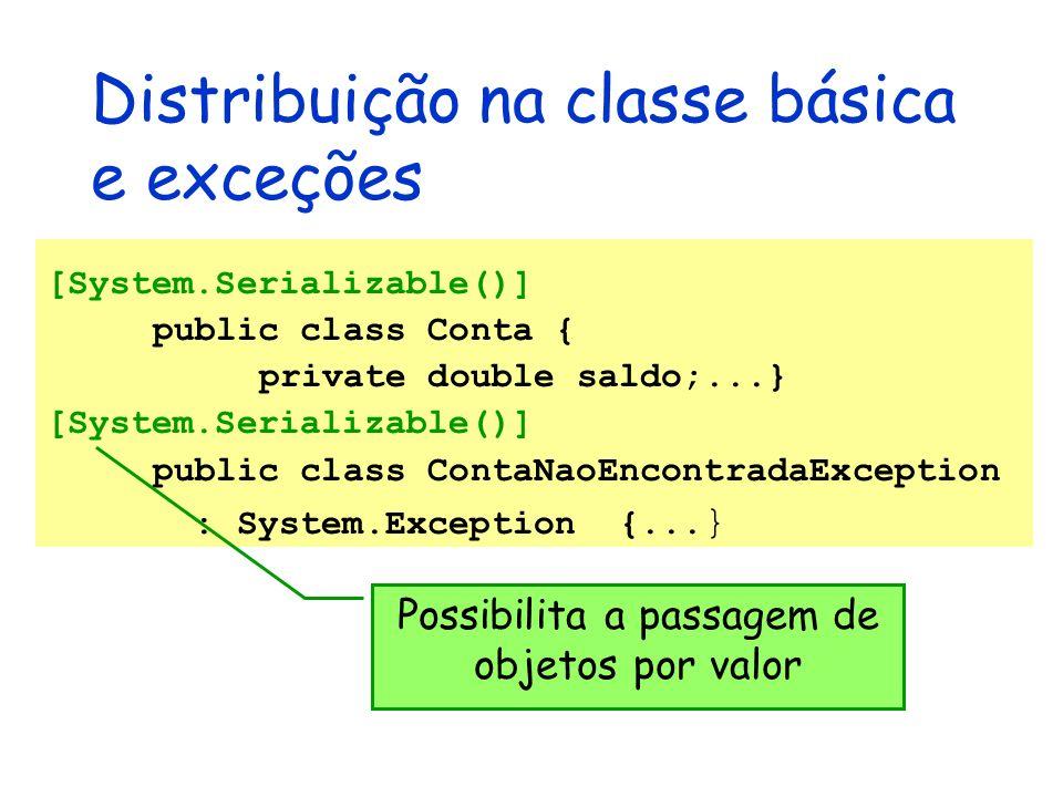 Distribuição na classe básica e exceções