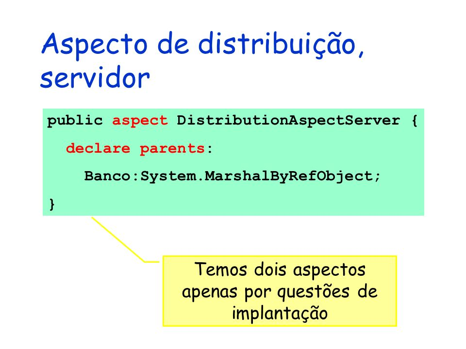 Aspecto de distribuição, servidor