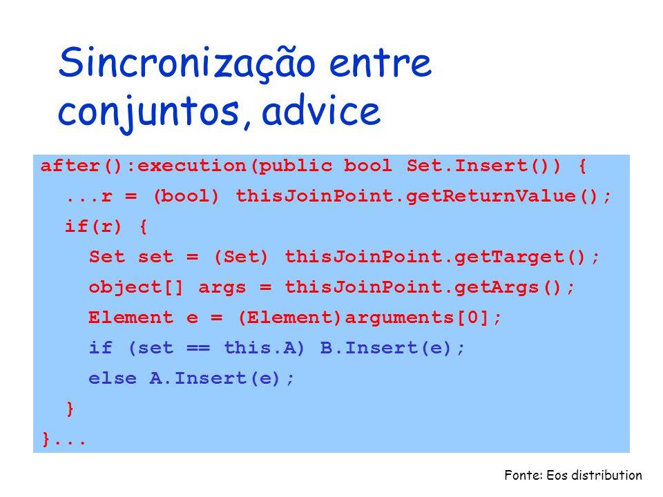 Sincronização entre conjuntos, advice