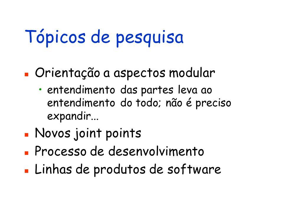 Tópicos de pesquisa Orientação a aspectos modular Novos joint points