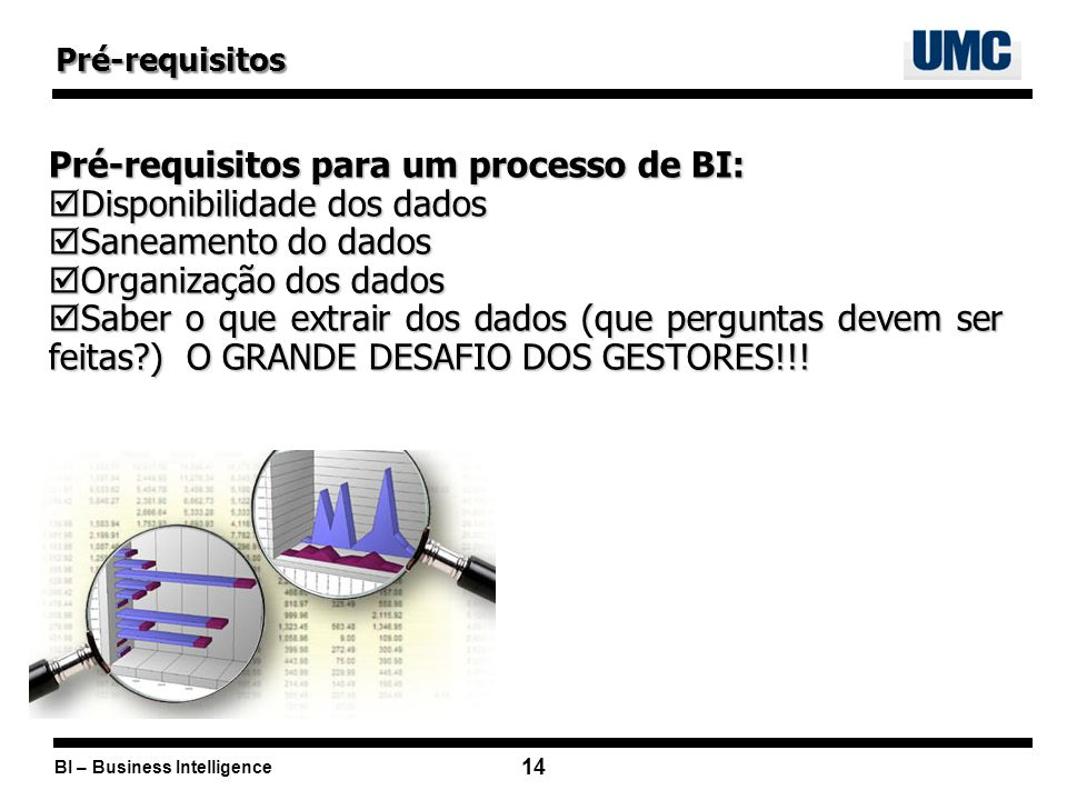 Pré-requisitos para um processo de BI: Disponibilidade dos dados