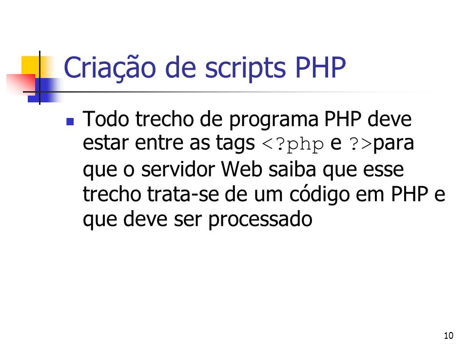 Criação de scripts PHP