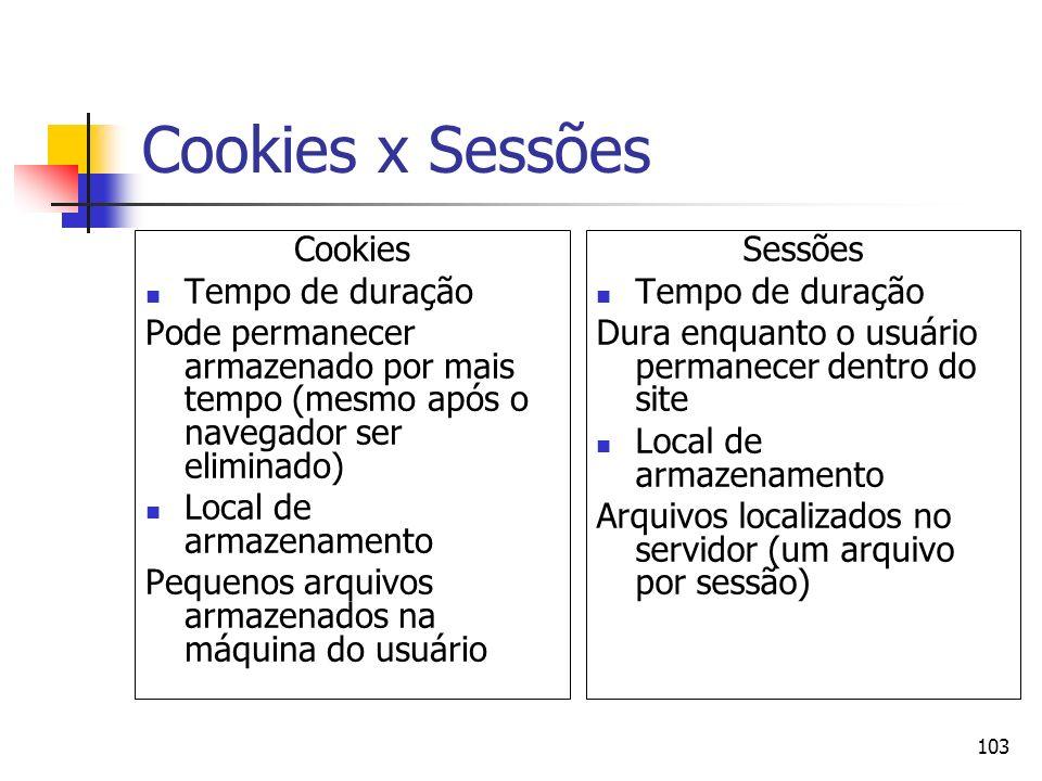 Cookies x Sessões Cookies Tempo de duração