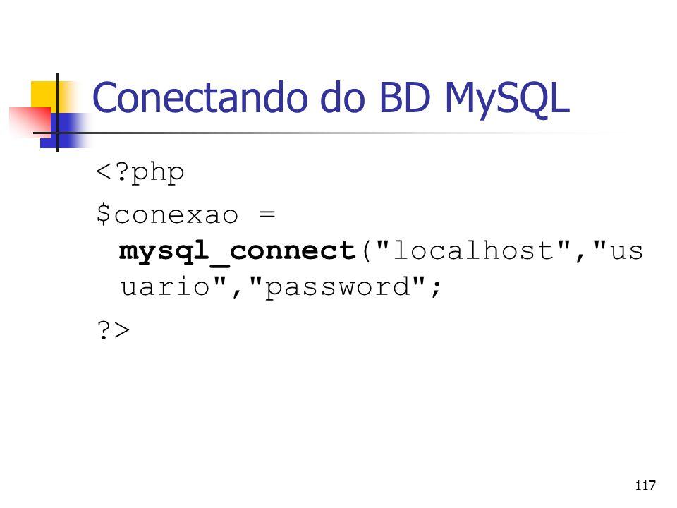 Conectando do BD MySQL < php