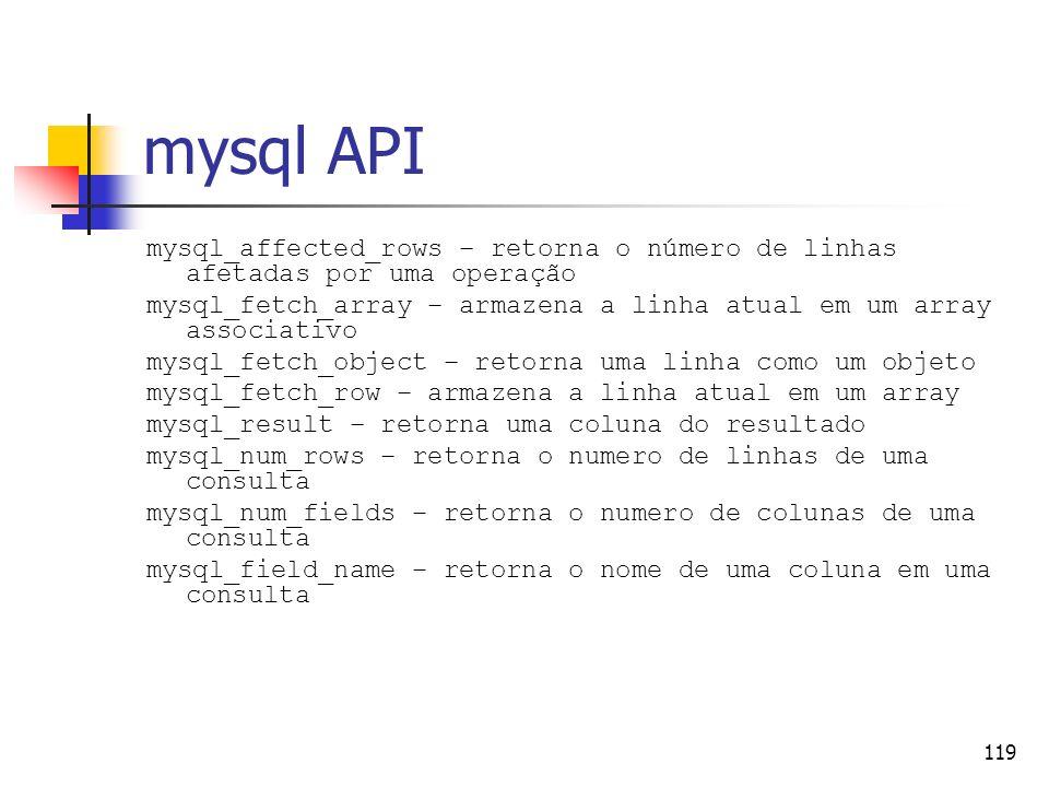 mysql API mysql_affected_rows – retorna o número de linhas afetadas por uma operação.