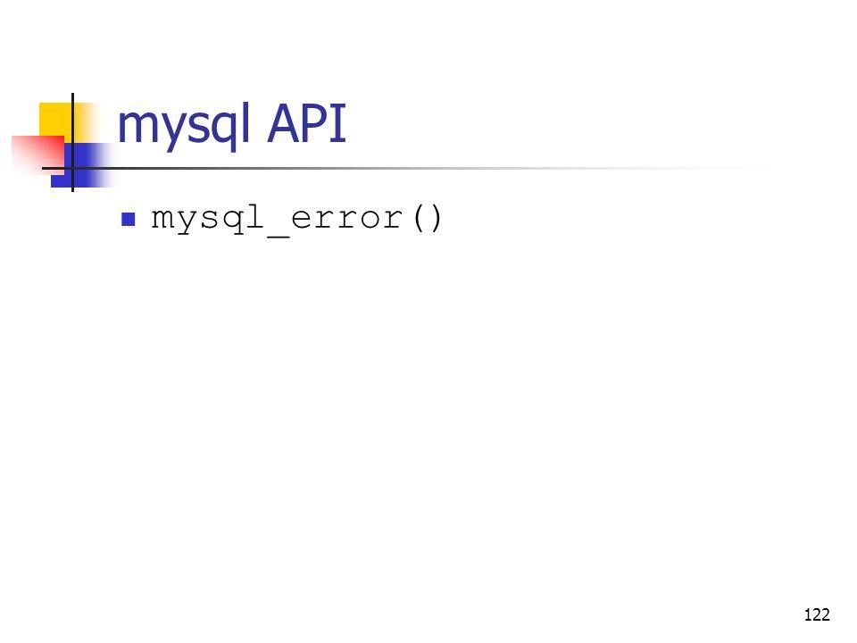 mysql API mysql_error()