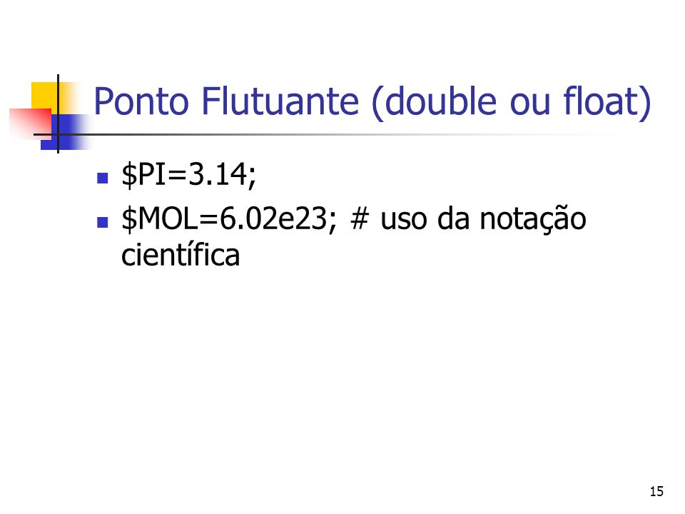 Ponto Flutuante (double ou float)
