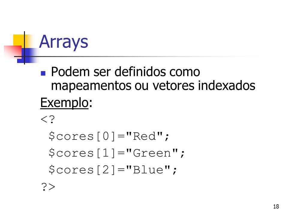 Arrays Podem ser definidos como mapeamentos ou vetores indexados