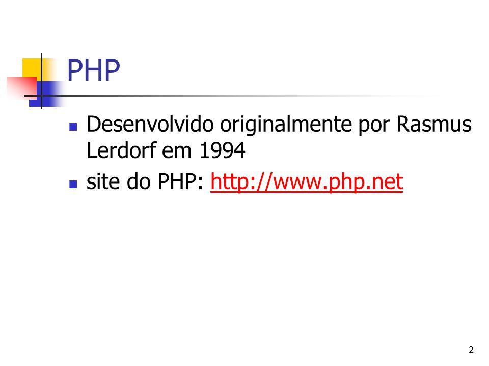PHP Desenvolvido originalmente por Rasmus Lerdorf em 1994