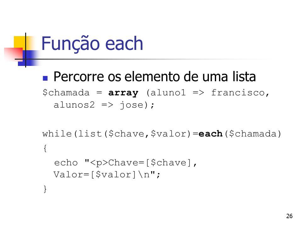 Função each Percorre os elemento de uma lista